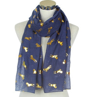 Horse Blue Gold Accent Scarf