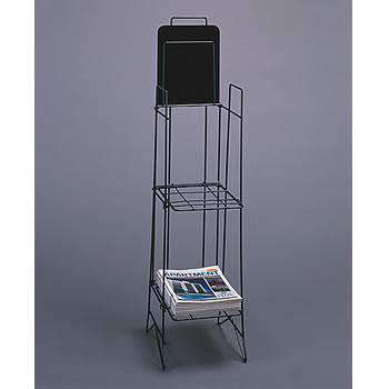 Magazine Rack (Wire) - Floor Stand Display - 2 Shelves Sign Display - Clear