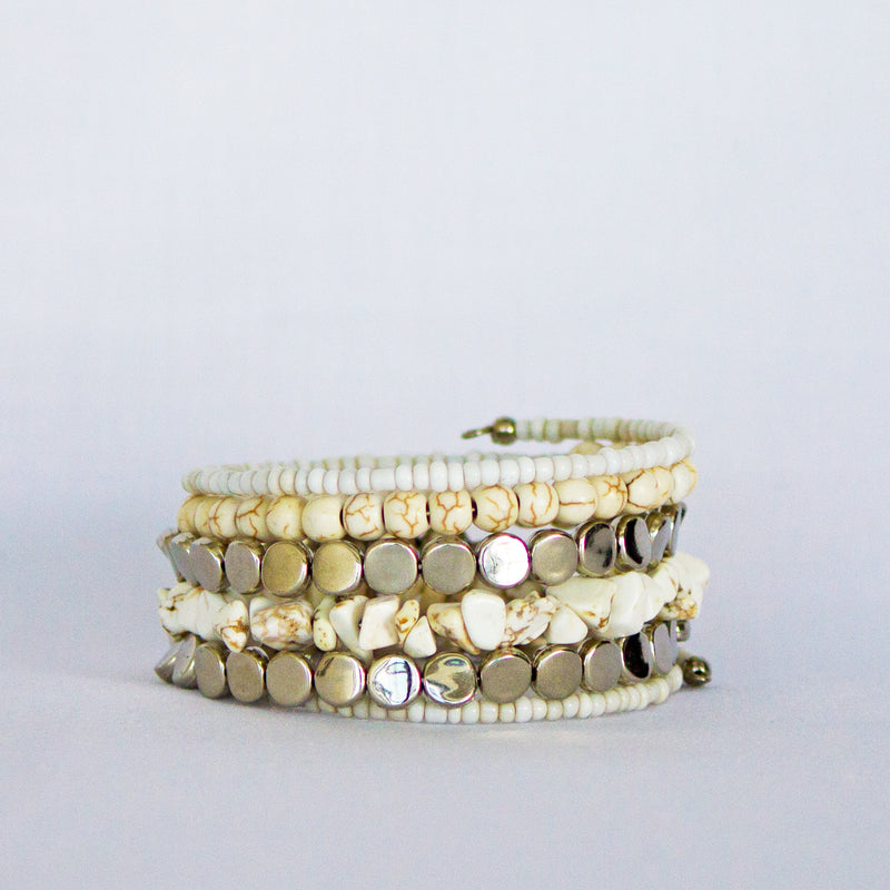 White Bead Bangle - Elegance's Swim