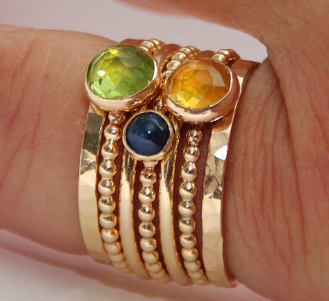 peridot sapphire citrine stackable gold filled birthstone rings