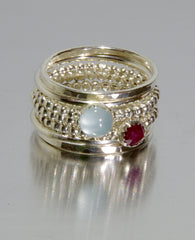 aquamarine ruby stackable mothers rings