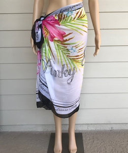 Black and White Floral Beach Wrap