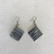 Load image into Gallery viewer, Jackie Brazil Black and White Striped Earrings
