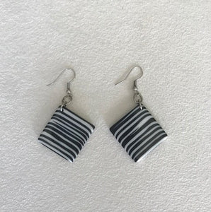 Jackie Brazil Black and White Striped Earrings