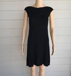M. Rena  Black Boat Neck Sweater Dress