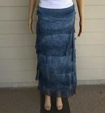 Load image into Gallery viewer, Blue Silk Layered Maxi Skirt by Look Mode