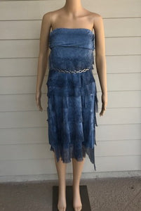 Blue Silk Layered Maxi Skirt by Look Mode