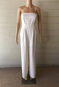 Winter White and Cream Tonal Stripe Jumpsuit