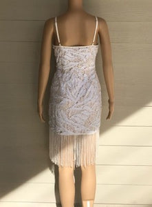 Ivory Sequin Fringe Dress