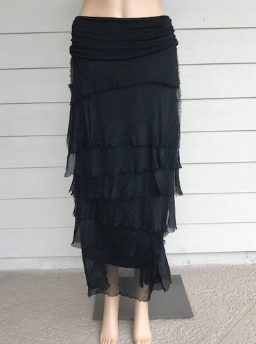 Black Silk Layered Maxi Skirt by Look Mode