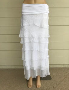 White Silk Layered Maxi Skirt by Look Mode