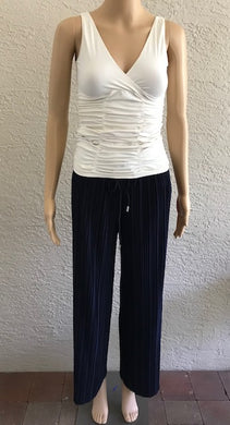 Navy Pleated Wide Leg Pants