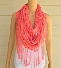 Load image into Gallery viewer, Peach Fringe Infinity Scarf