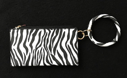 Black and White Zebra Pattern Wristlet