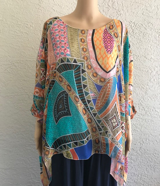 Colorful Aztec Print Silk Blouse