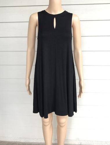 Black Mini Dress with Keyhole Front