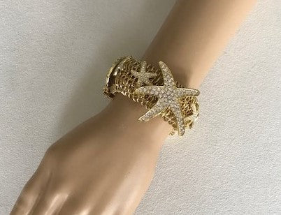 Sea Star Gold Stretch Bracelet by Traci Lynn