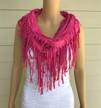 Load image into Gallery viewer, Pink Fringe Infinity Scarf