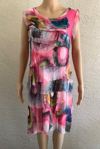Abstract Print Fuchsia Silk Dress