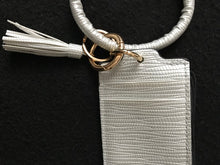 Load image into Gallery viewer, Silver Tassel Leather Credit Card Wristlet
