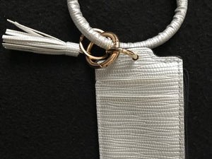 Silver Tassel Leather Credit Card Wristlet