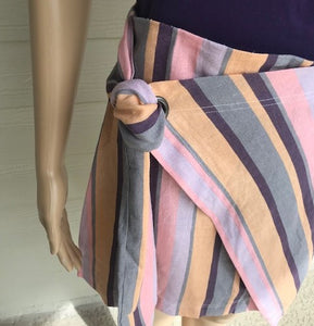 Multi Stripe Tie Front Skirt