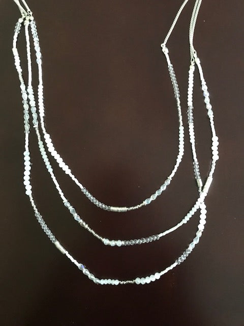 White bead and iridescent crystal necklace