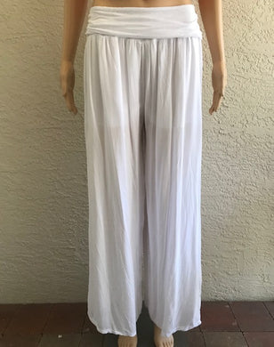 White Lightweight Wide Leg Pants