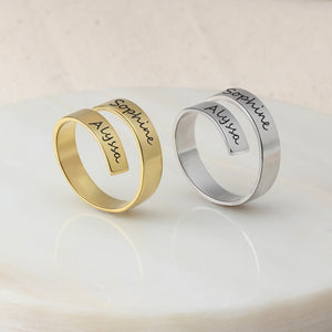 Personalized Double Wide Band Name Ring