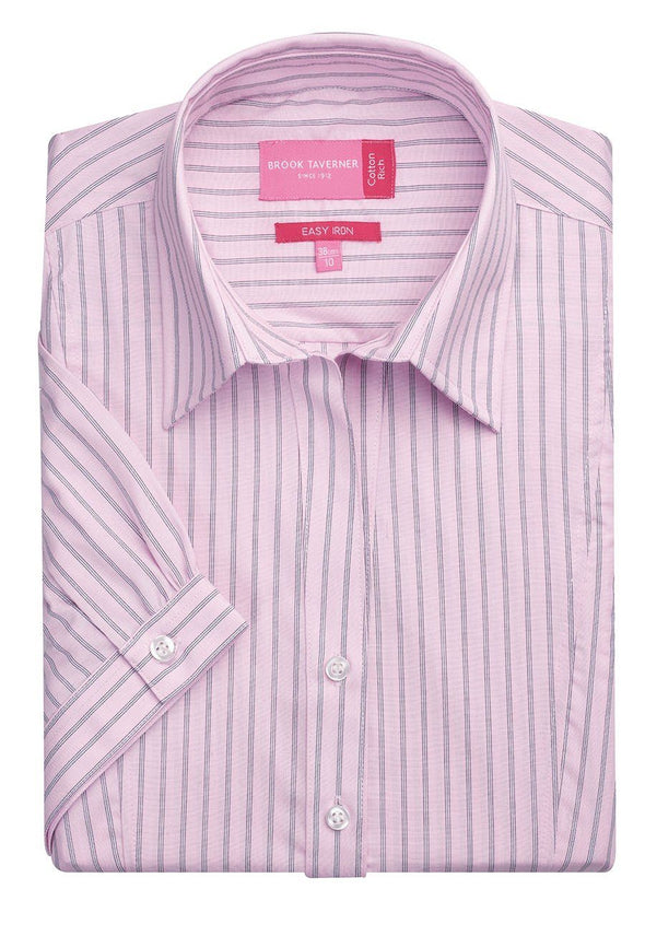 2217 - Pescara Shirt Womens Short Sleeve Shirts Brook Taverner Pink/Grey Stripe 6