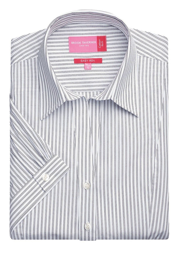 2217 - Pescara Shirt Womens Short Sleeve Shirts Brook Taverner White/Grey Stripe 6
