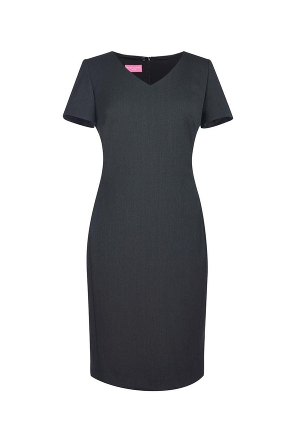 2246 - Corinthia V-Neck Dress Dresses Brook Taverner Charcoal 6 Regular
