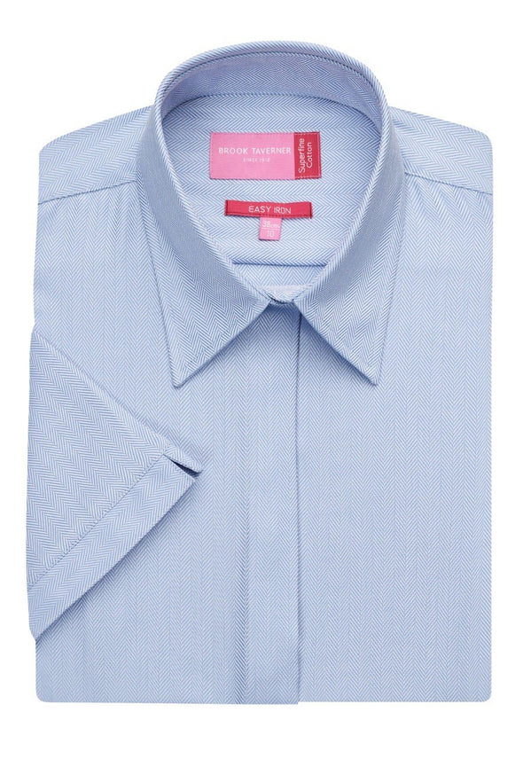 2249 - Ozzero Herringbone Shirt Womens Short Sleeve Shirts Brook Taverner Blue Herringbone 6