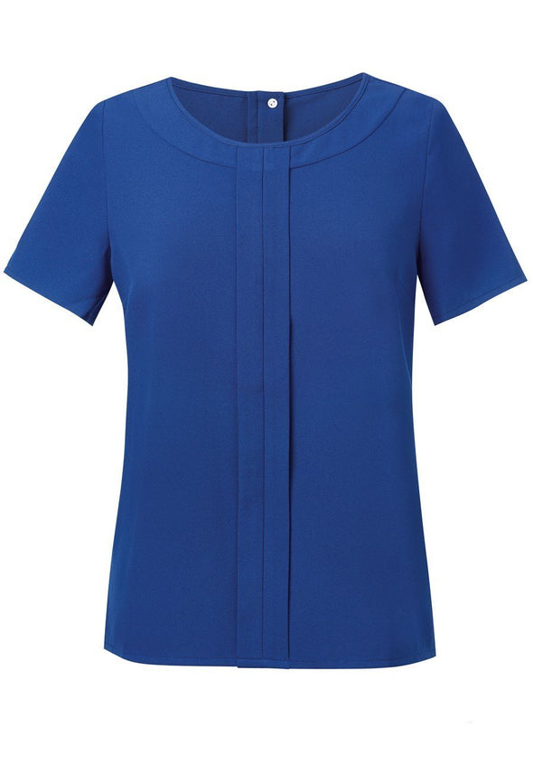 2280 - Verona Plain Crepe de Chine Blouse Blouses Brook Taverner Royal Blue 6