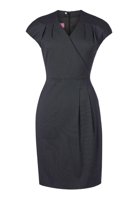 2285 - Cressida Dress Dresses Brook Taverner Charcoal Pin Dot 6 Regular