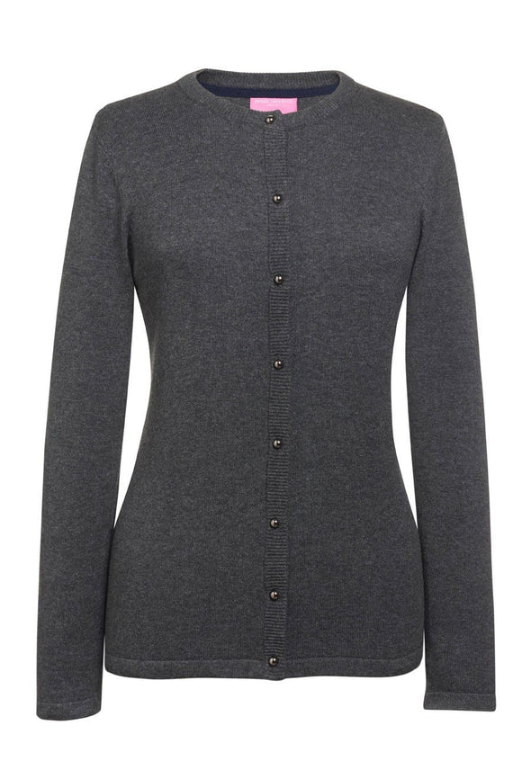 2308 - Seattle Crew-Neck Cardigan Womens Knitwear Brook Taverner Charcoal XS