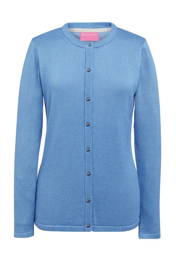 2308 - Seattle Crew-Neck Cardigan Womens Knitwear Brook Taverner Light Blue XS