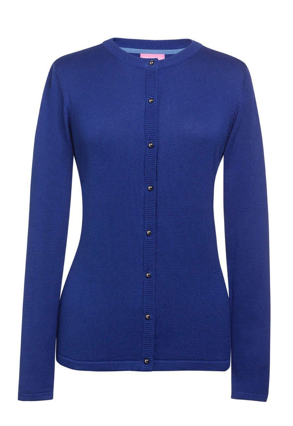 2308 - Seattle Crew-Neck Cardigan Womens Knitwear Brook Taverner Royal Blue XS