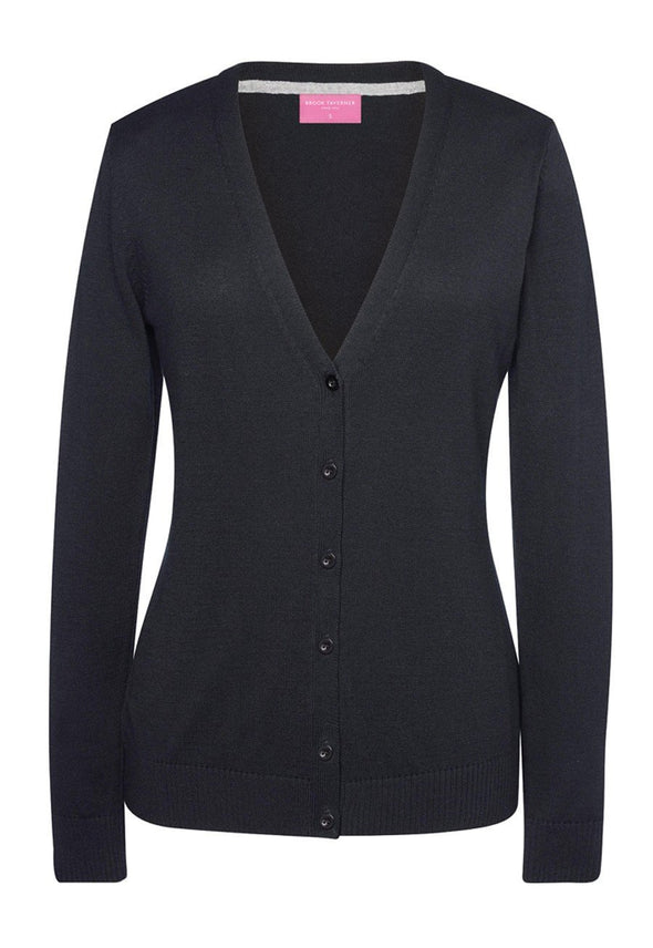 2309 - Augusta V-Neck Cardigan Womens Knitwear Brook Taverner Black XS