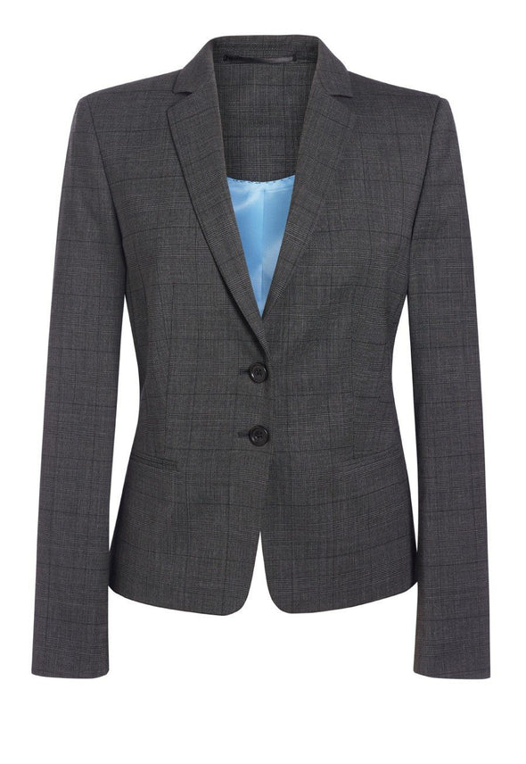 2331 - Calvi Signature Slim Fit Jacket Ladies Suit Jacket Brook Taverner Grey Check 6 Short