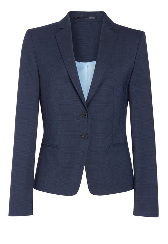 2331 - Calvi Signature Slim Fit Jacket Ladies Suit Jacket Brook Taverner Navy Check 6 Short