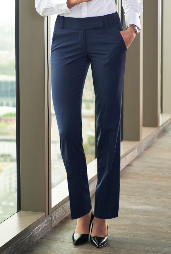 2332 - Genoa Signature Tailored Leg Trouser Ladies Suit Trouser Brook Taverner Navy Check 6 Short