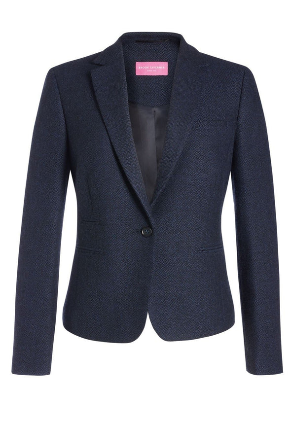 2344 - Montreal Tweed Jacket Ladies Suit Jacket Brook Taverner Navy Herringbone 6 Regular