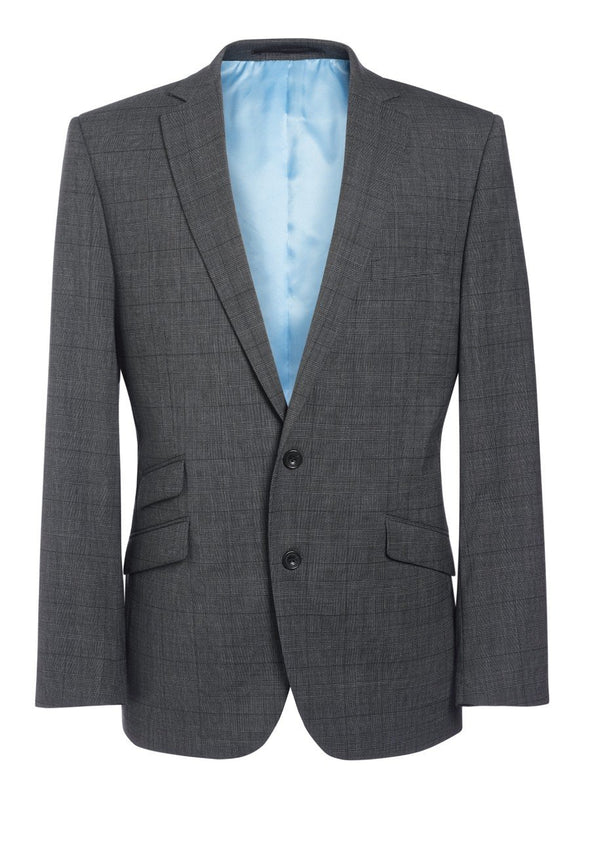 "3834 - Cassino Signature Slim Fit Jacket Mens Suit Jacket Brook Taverner Grey Check 34"" Regular"