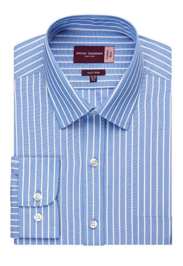 7540 -Rufina Classic Fit Shirt Mens Long Sleeve Shirts Brook Taverner Blue/White Stripe 14.5""