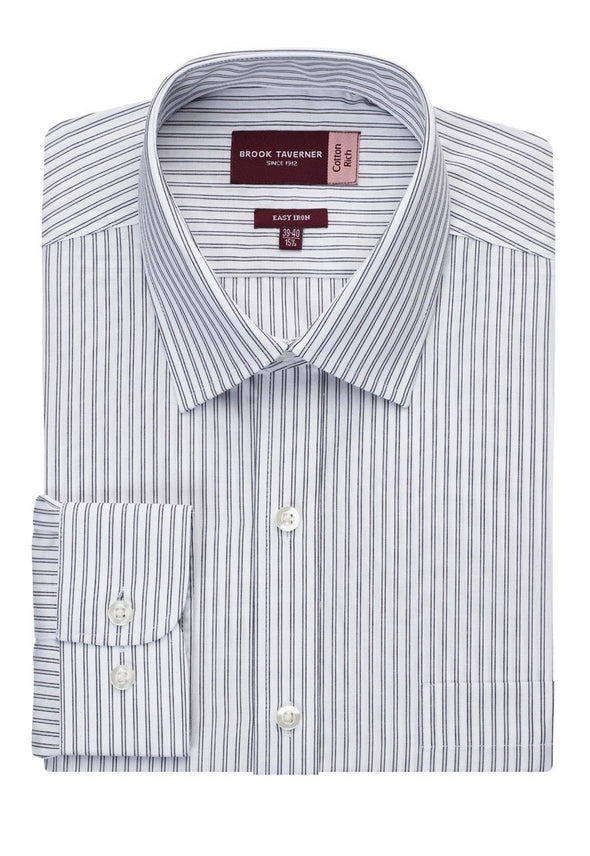 7540 -Rufina Classic Fit Shirt Mens Long Sleeve Shirts Brook Taverner White/Grey Stripe 14.5""