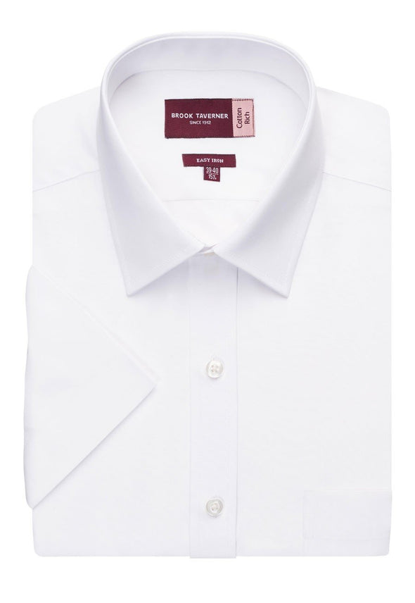 7541 - Rosello Classic Fit Shirt Mens Short Sleeve Shirts Brook Taverner White 14.5""