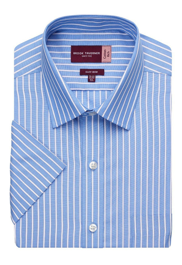 7542 - Roccella Classic Fit Shirt Mens Short Sleeve Shirts Brook Taverner Blue/White Stripe 14.5""