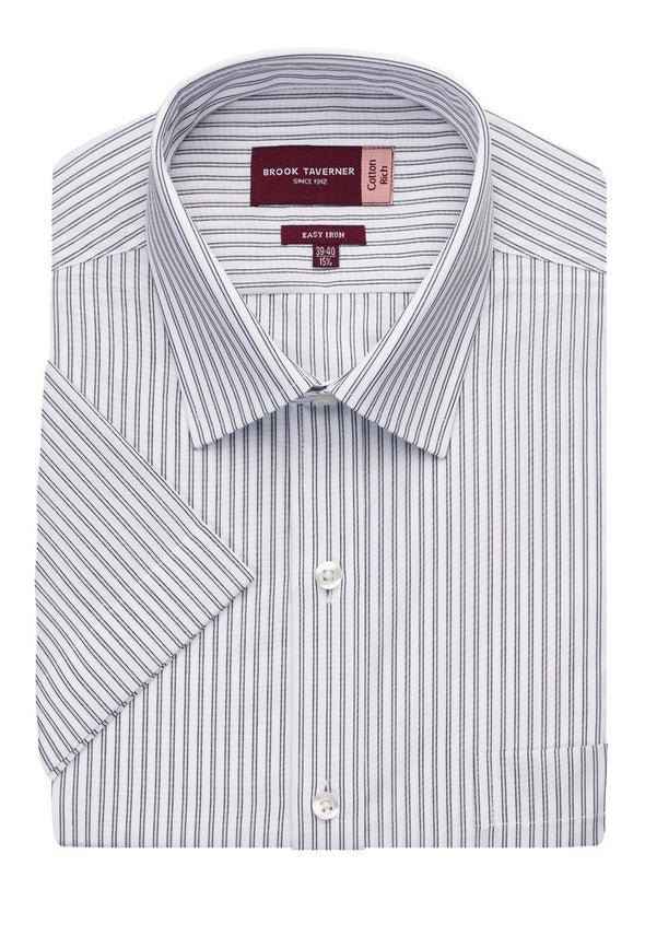 7542 - Roccella Classic Fit Shirt Mens Short Sleeve Shirts Brook Taverner White/Grey Stripe 14.5""
