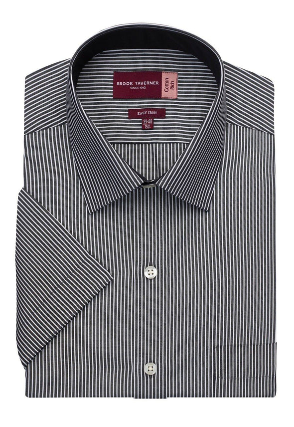 7595 - Savona Classic Fit Shirt Mens Short Sleeve Shirts Brook Taverner Black/White Stripe 14.5""